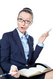 Surprised business woman with open mouth Stock Photo