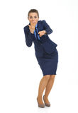 Surprised business woman pointing in camera Royalty Free Stock Photo