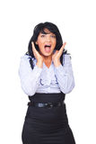 Surprised business woman shouting royalty free stock image