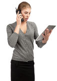 Surprised business woman talking on telephone Stock Photo
