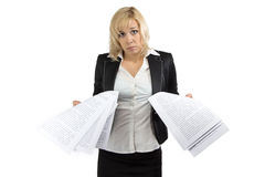 Surprised business woman with white sheets Stock Photography