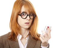 Surprised Business Women In Funny Glasses. Royalty Free Stock Photography