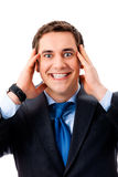 Surprised businessman, isolated Stock Image