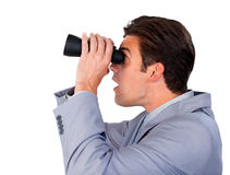 Surprised businessman looking through binoculars Stock Images