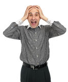 Surprised businessman screaming Royalty Free Stock Photo