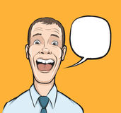Surprised businessman with speech bubble Stock Images