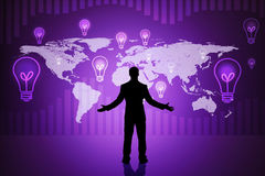 Surprised businessmans silhouette on purple Royalty Free Stock Images
