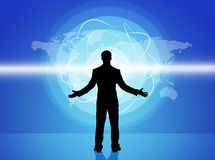 Surprised businessmans silhouette with world map Stock Image