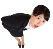 Surprised businesswoman bending Royalty Free Stock Images