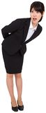 Surprised businesswoman bending Royalty Free Stock Photo