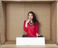 Surprised businesswoman, funny gesture Stock Image
