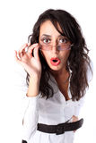 Surprised businesswoman with glasses Stock Image