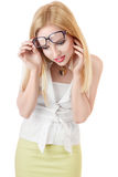 Surprised businesswoman looking down Stock Photo