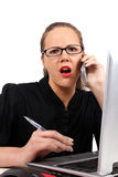 Surprised businesswoman with open mouth Stock Images