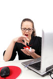 Surprised businesswoman with open mouth Stock Photo