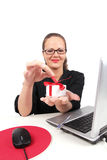 Surprised businesswoman with present box in hand Royalty Free Stock Photography