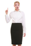 Surprised businesswoman pressing button pointing Stock Photography