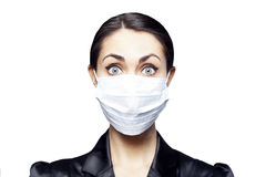 Businesswoman with protecting mask on her lips Royalty Free Stock Photo