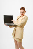 Surprised Businesswoman With Open Notebook PC. Stock Image