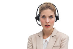 Surprised call center agent Stock Photography