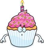Surprised Cartoon Birthday Cupcake Royalty Free Stock Photos