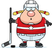 Surprised Cartoon Hockey Player Royalty Free Stock Photos
