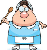 Surprised Cartoon Lunch Lady Royalty Free Stock Photography