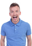 Surprised casual young man Royalty Free Stock Photo