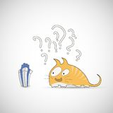 Surprised cat with gift and question Royalty Free Stock Photography