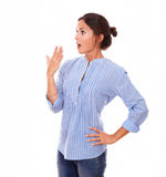 Surprised charming woman looking to her right Royalty Free Stock Photo