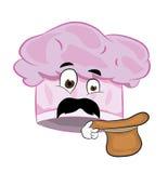 Surprised chef hat cartoon Stock Image