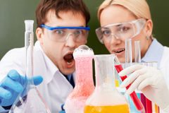 Surprised chemists Stock Photography