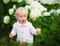 Surprised child among flowers Royalty Free Stock Images