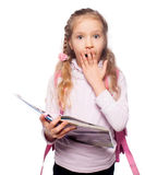 Surprised Child with schoolbag Royalty Free Stock Photo