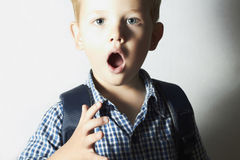 Surprised child. 4 years old boy. little kid. emotion. Portrait royalty free stock photography