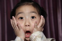 The Surprised Chinese girl. This Chinese girl with surprised Royalty Free Stock Photo
