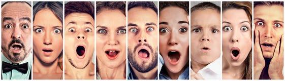 Surprised chocou povos Reação humana das emoções