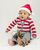 Surprised Christmas Baby Stock Images