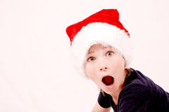 Surprised christmas boy Royalty Free Stock Photography