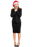 Surprised Christmas business woman isolated royalty free stock photos