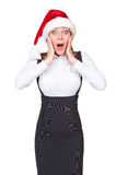 Surprised christmas businesswoman Royalty Free Stock Photos