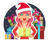 Surprised christmas cute cartoon girl hold light gift box in hands new year pile of gifts background flat design Royalty Free Stock Photo