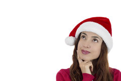 Christmas woman thinking. Christmas woman looking up thinking and dreaming Stock Photos