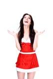 Surprised Christmas girl Stock Photos