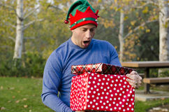 Surprised at Christmas! Royalty Free Stock Photography