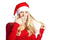 Surprised christmas santa girl Stock Photo