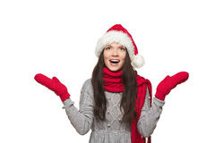 Surprised Christmas Santa woman Stock Photography
