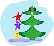 Surprised at the Christmas tree Stock Images