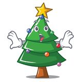 Surprised Christmas tree character cartoon. Vector illustration Stock Photography