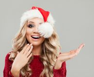 Surprised Christmas Woman Fashion Model Royalty Free Stock Images